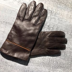 Isotoner Mocha Brown Cognac Supple Leather Gloves